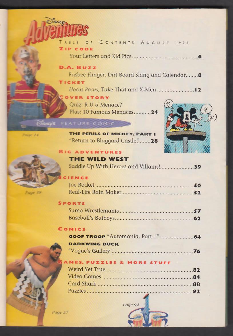 DISNEY ADVENTURES Dennis the Menace Mickey Goof Troop Darkwing Duck + 8 1993