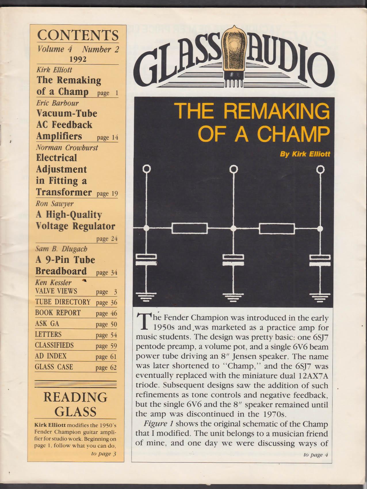 GLASS AUDIO Vol 4 #2 1992 Vacuum-Tube AC Feedback Amps Voltage Regulator +