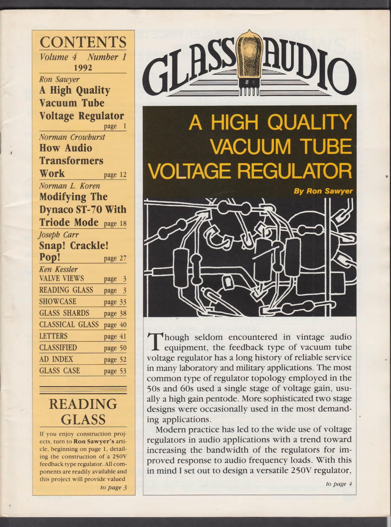 GLASS AUDIO Vol 4 #1 1992 Vacuum Tube Voltage Regulator Dynaco ST-70 +