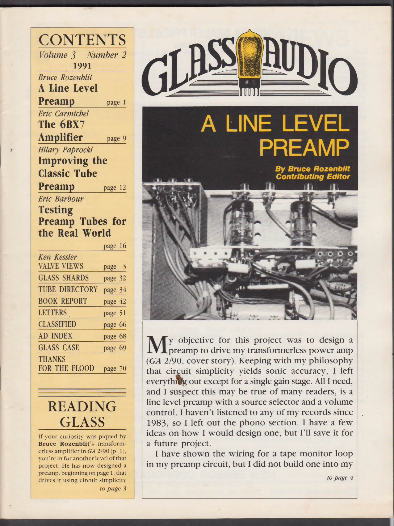 GLASS AUDIO Vol 3 #2 1991 Line Level Preamp 6BX7 Amp Classic Tube Preamp +