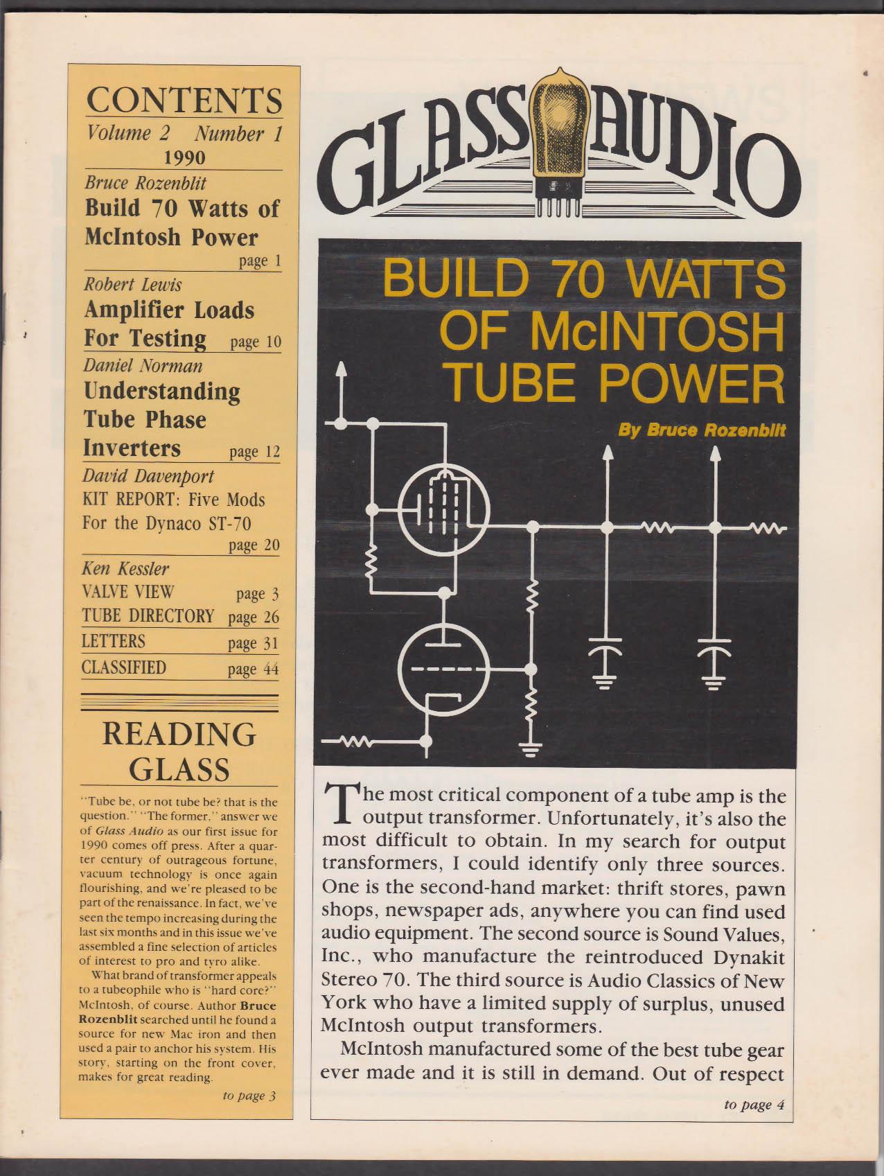 GLASS AUDIO Vol 2 #1 1990 McIntosh Amp Testing Tube Phase Inverters +