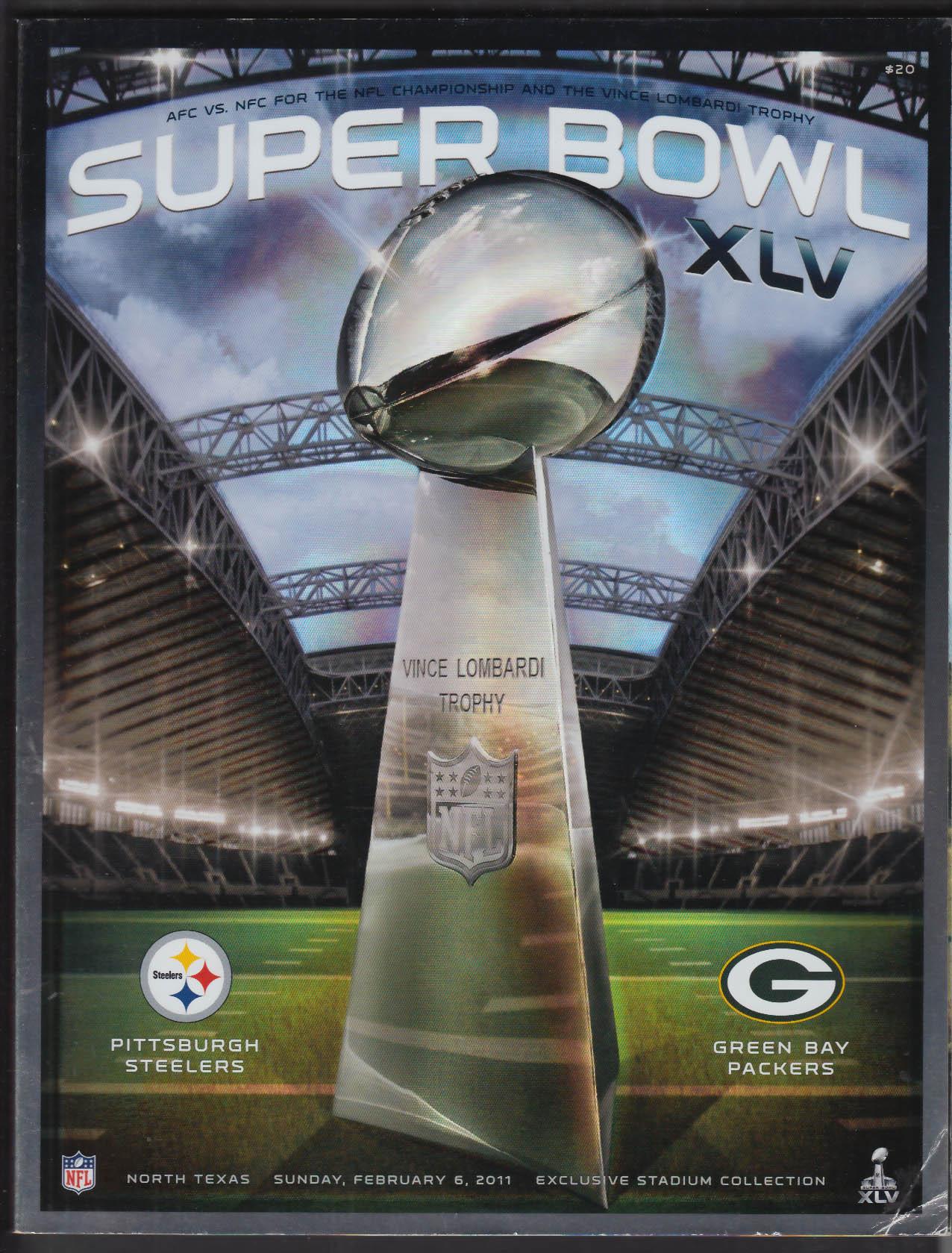 Super Bowl XLV Game Program Pittsburgh Steelers v Green Bay Packers 2011