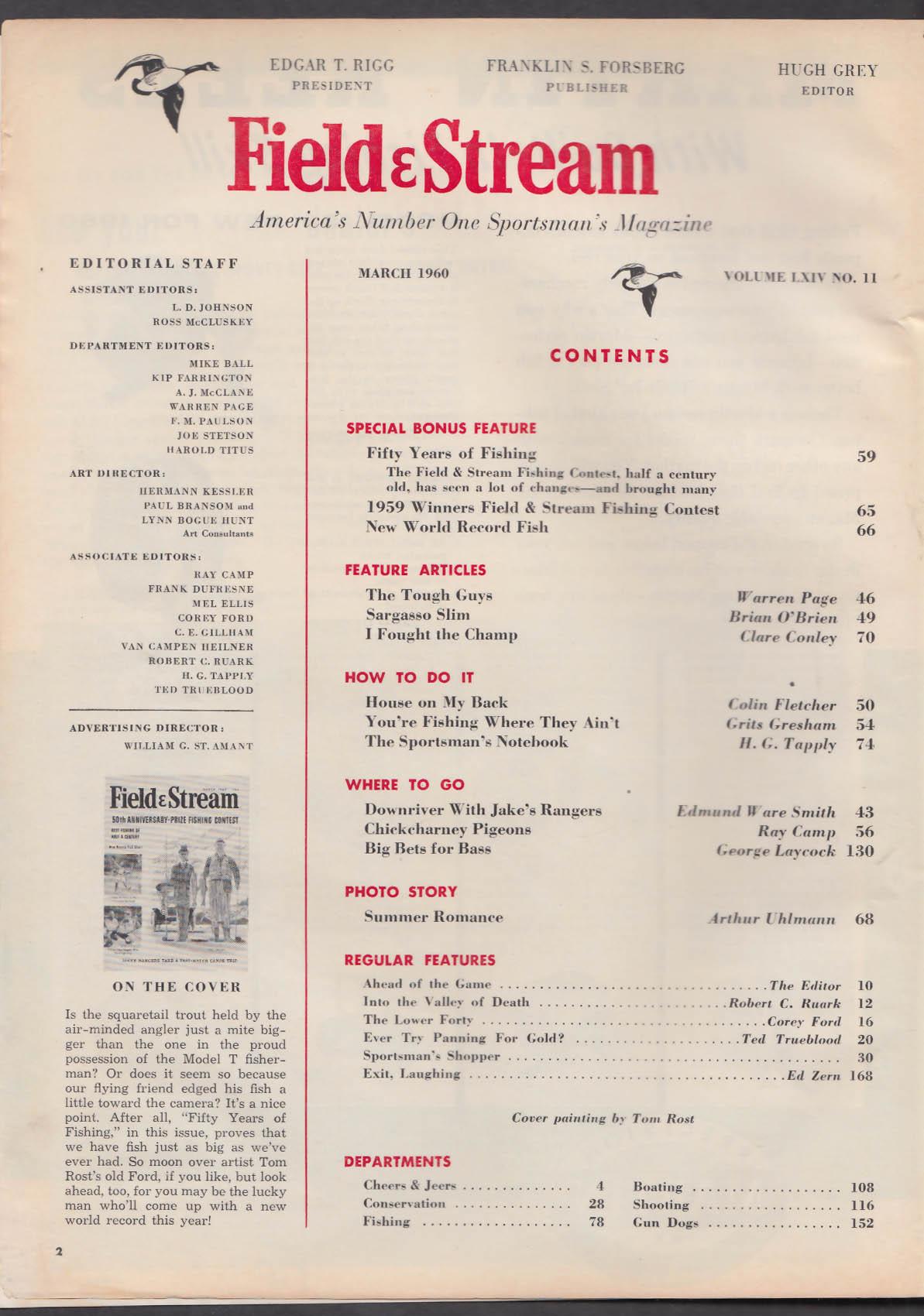 FIELD & STREAM Fishing Warren Page Jake's Rangers Chickcharney Pigeons + 3 1960