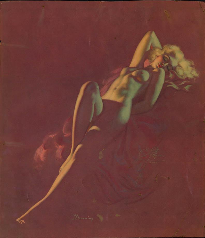 Earl Moran nude pin-up calendar print Dreaming ca 1940