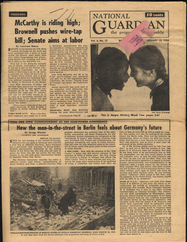 NATIONAL GUARDIAN 2/15 1954 Negro History Week; Joe McCarthy; Berlin