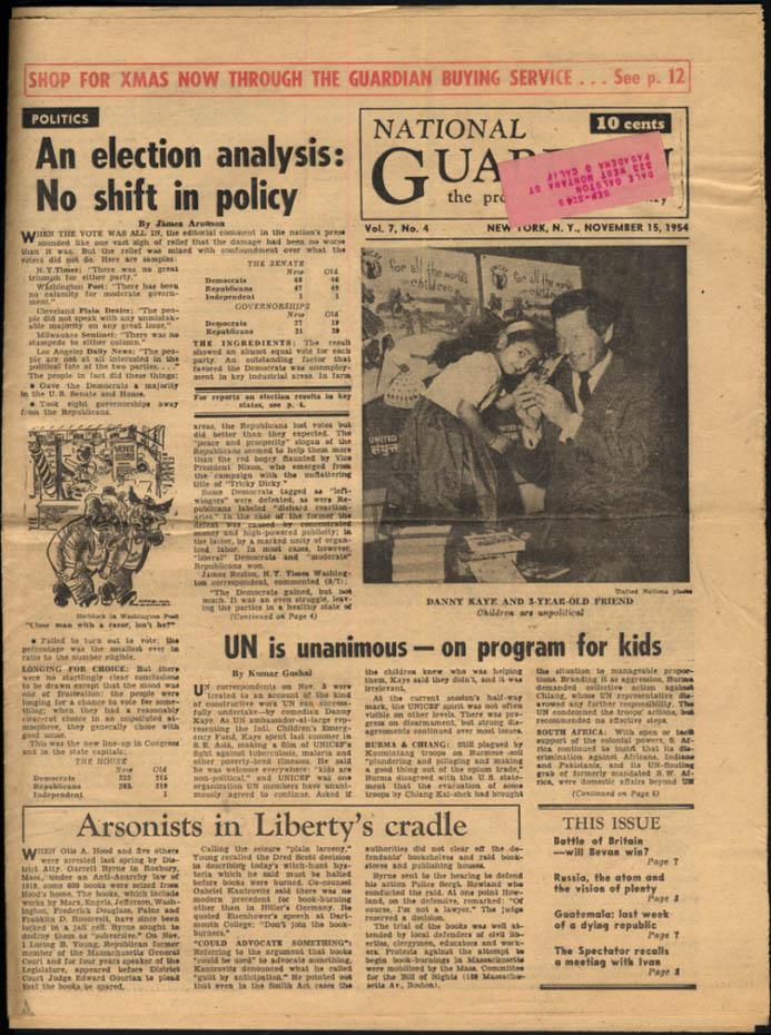 NATIONAL GUARDIAN 10/11 1954 Race Hate vs Integration; Vishinsky at UN