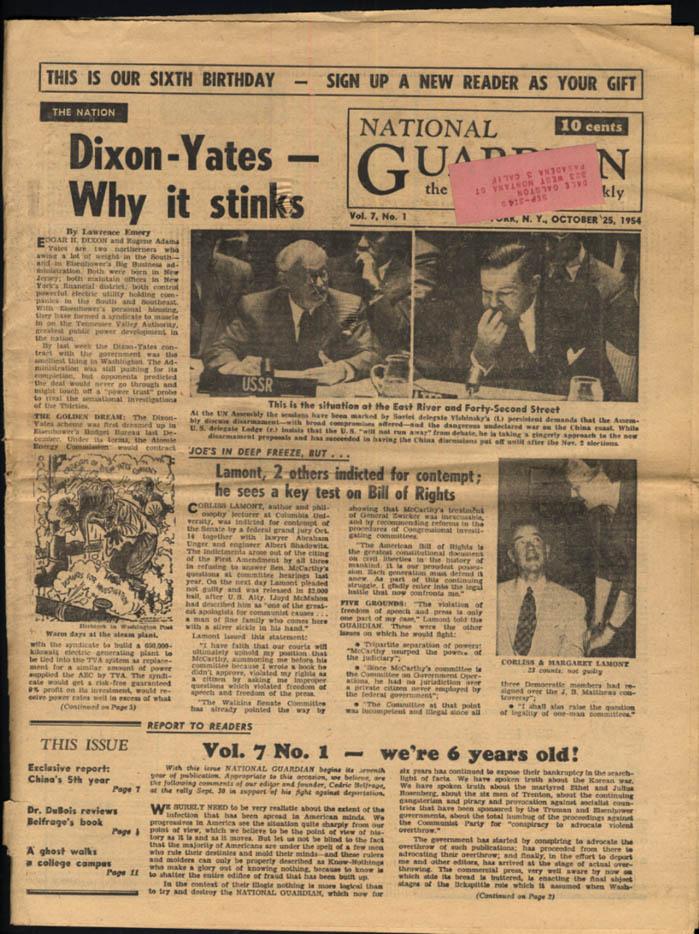 NATIONAL GUARDIAN 10/25 1954 Dixon-Yates Gov't Contract; Corliss Lamont
