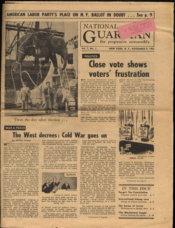NATIONAL GUARDIAN 11/8 1954 American Labor Party; Cold War Goes On