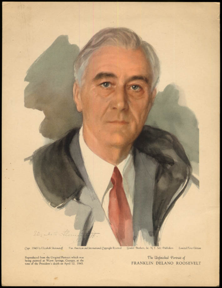 Franklin D Roosevelt print by Elizabeth Shoumatoff 1945 Limited Edition