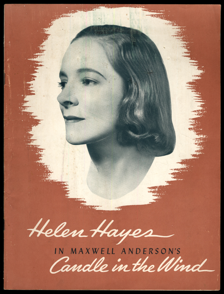 Helen Hayes in Maxwell Anderson's Candle in the Wind theatre program 1941