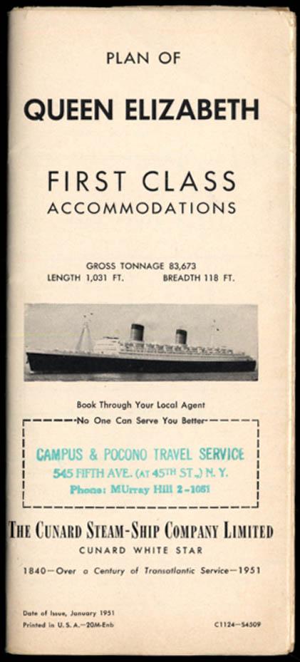 Cunard R M S Queen Elizabeth First Class Accommodations Deck Plan 1 1951