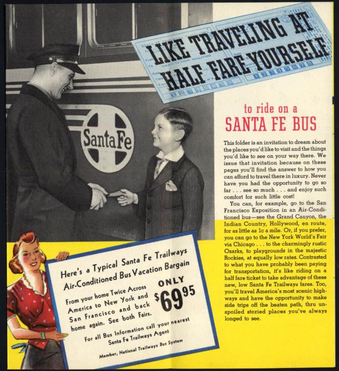 Take a Bus Vacation Colorado Rockies on Santa Fe Traiways folder 1930s