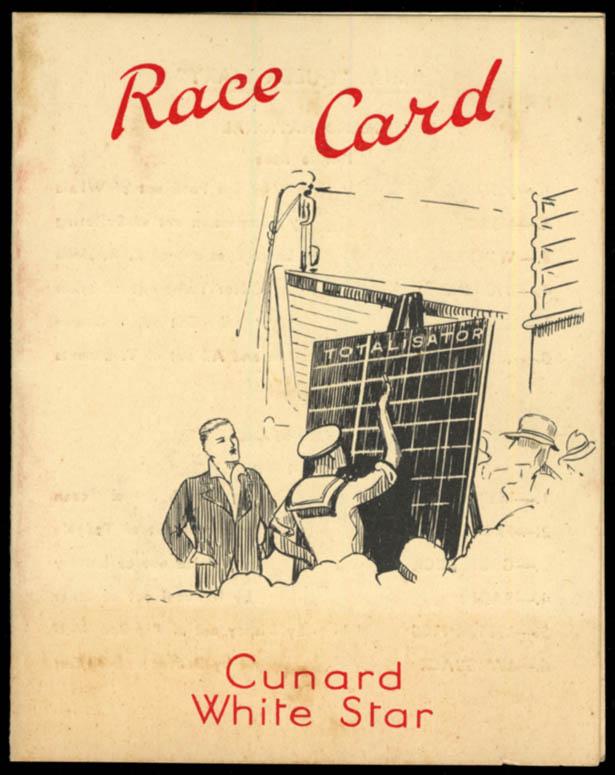Cunard White Star R M S Queen Mary horse race card ca 1930s-1940s
