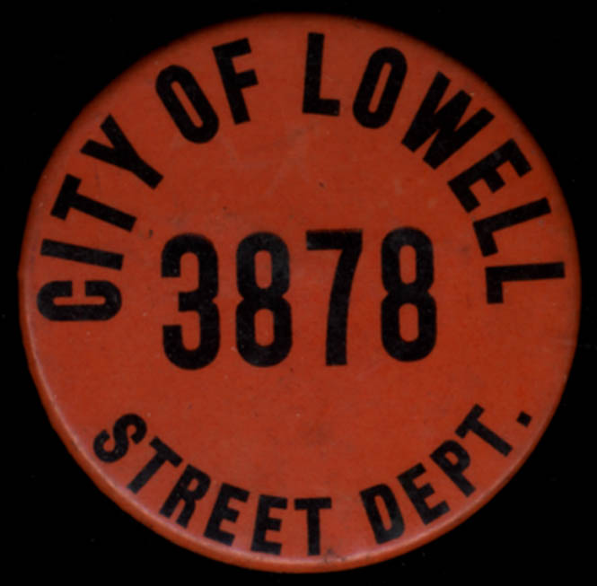 City of Lowell Massachusetts Street Department pinback button #3878 ca 1950s