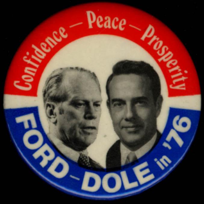 Confidence-Peace-Prosperity Ford-Dole campaign pinback button 1976