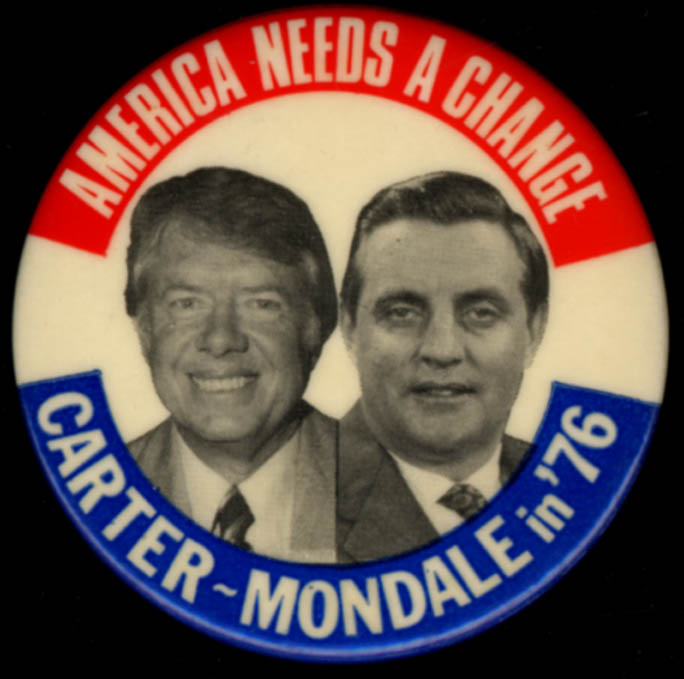 America Needs A Change Carter-Mondale campaign pinback button 1976