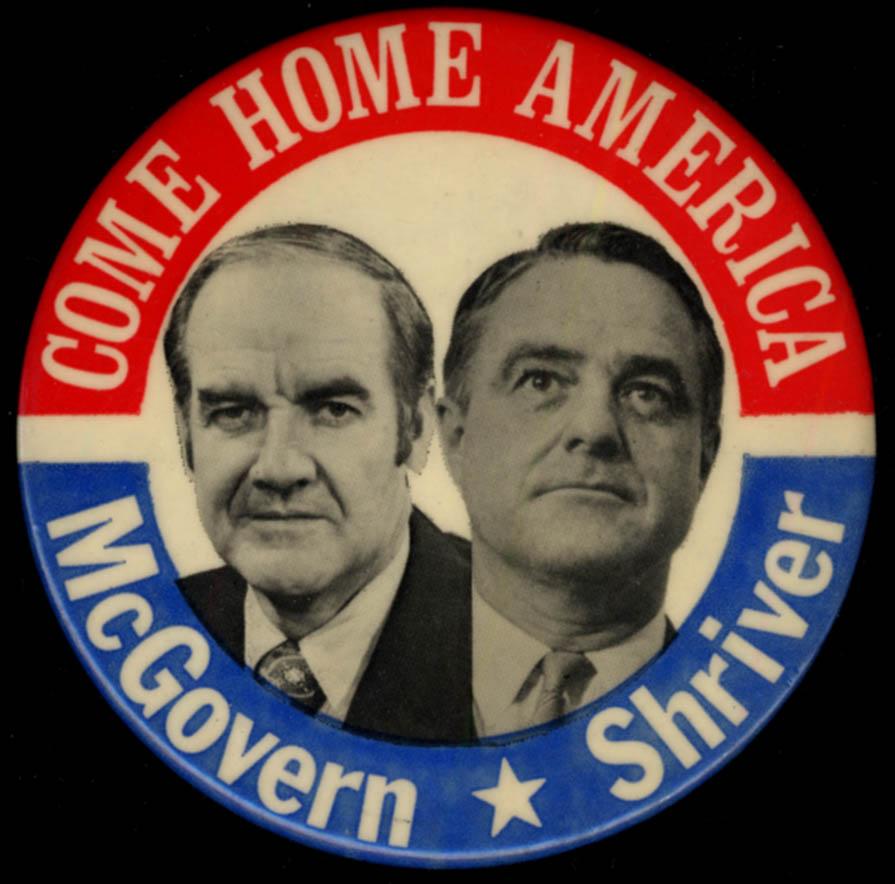 Come Home Again McGovern-Shriver campaign pinback button 1972