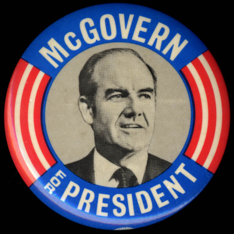 George McGovern for President campaign pinback button 1972