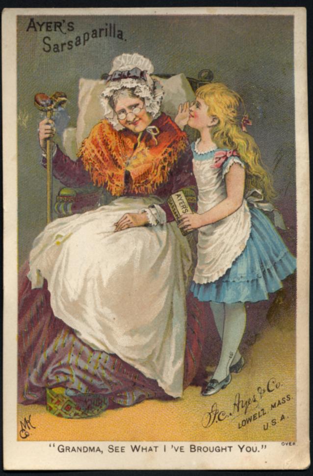 Ayer's Sarsaparilla trade card ca 1880s Grandma look what I've brought!