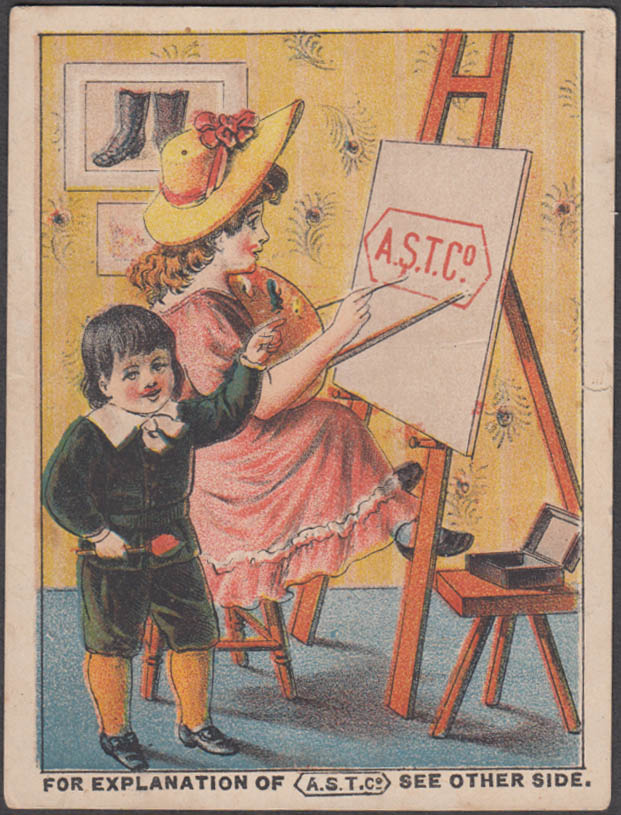 American Shoe Tip trade card JB & RM Johnson Boots & Shoes Barnet VT 1880s easel