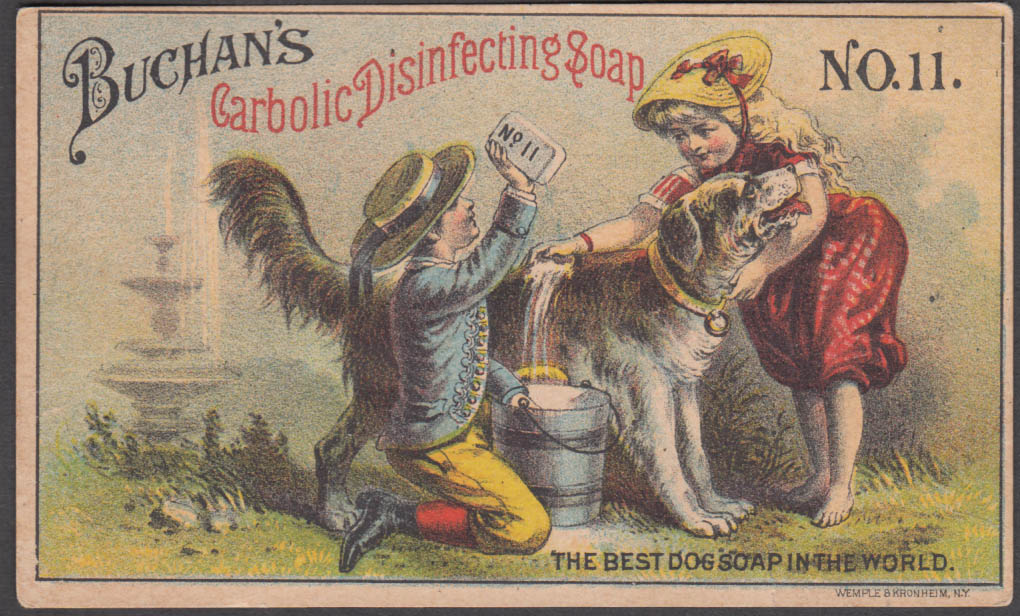 Buchan's Carbolic Disinfecting Dog Soap #11 trade card Kidder & Laird NYC 1880s