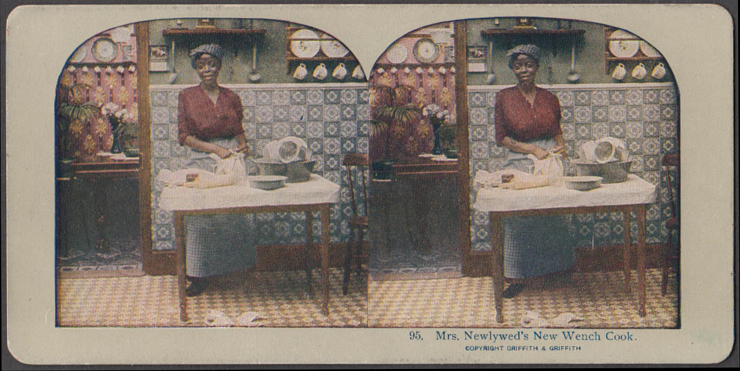 Mrs Newlywed's New Wench Cook stereoview black woman in kitchen ca 1900