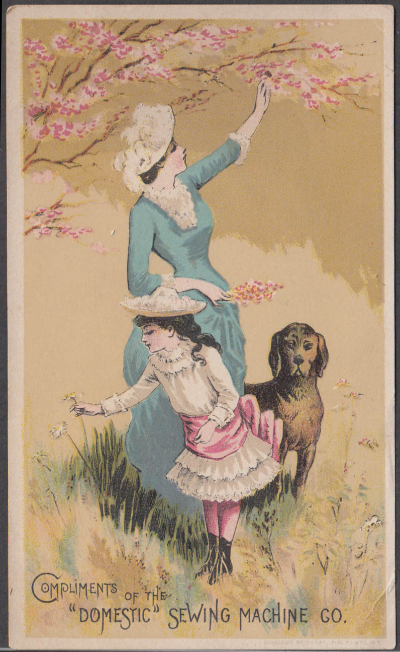 Domestic Sewing Machine trade card 1882 mother daughter & dog afield