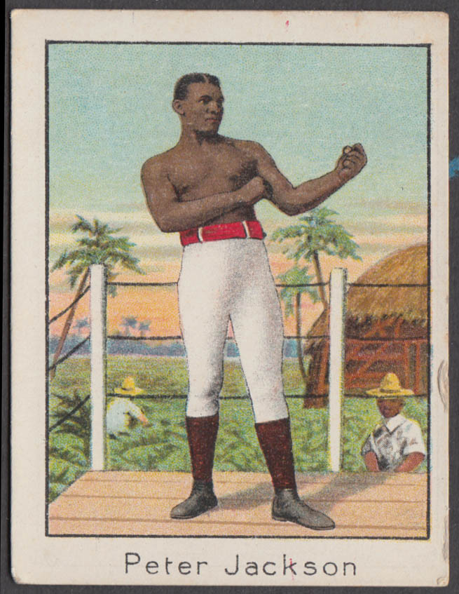 Black heavyweight boxer Peter Jackson Mecca Cigarette card T220 1910