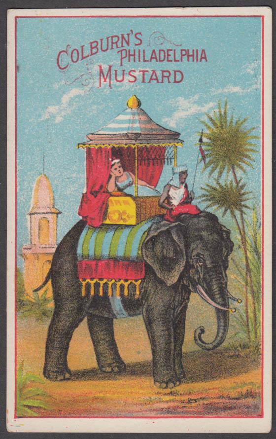 Colburn's Philadelphia Mustard trade card 1880s woman in howdah on her elephant