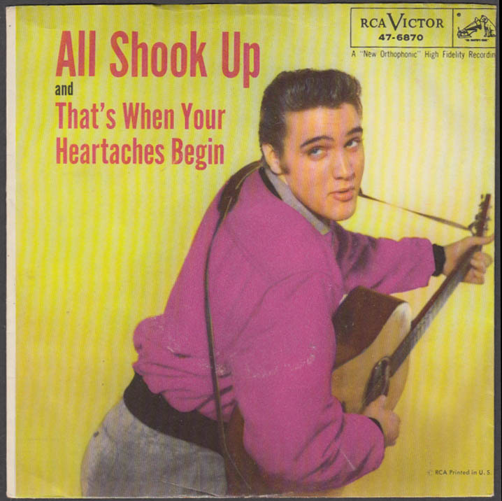 Elvis Presley All Shook Up / That's when Heartaches Begin 45rpm & sleeve 1957