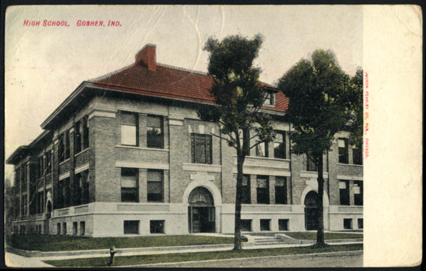 The High School at Goshen IN postcard 1908