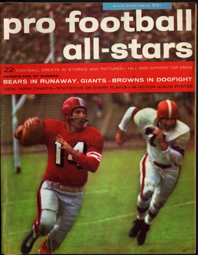 Maco Sportsman PRO FOOTBALL ALL-STARS 1957 Gifford Harlan Hill Yale Lary Schmidt