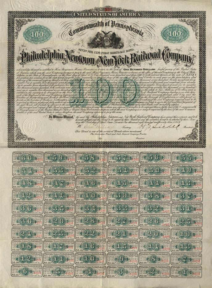 Philadelphia Newtown New York Railroad 100 Mortgage Bond complete 1873