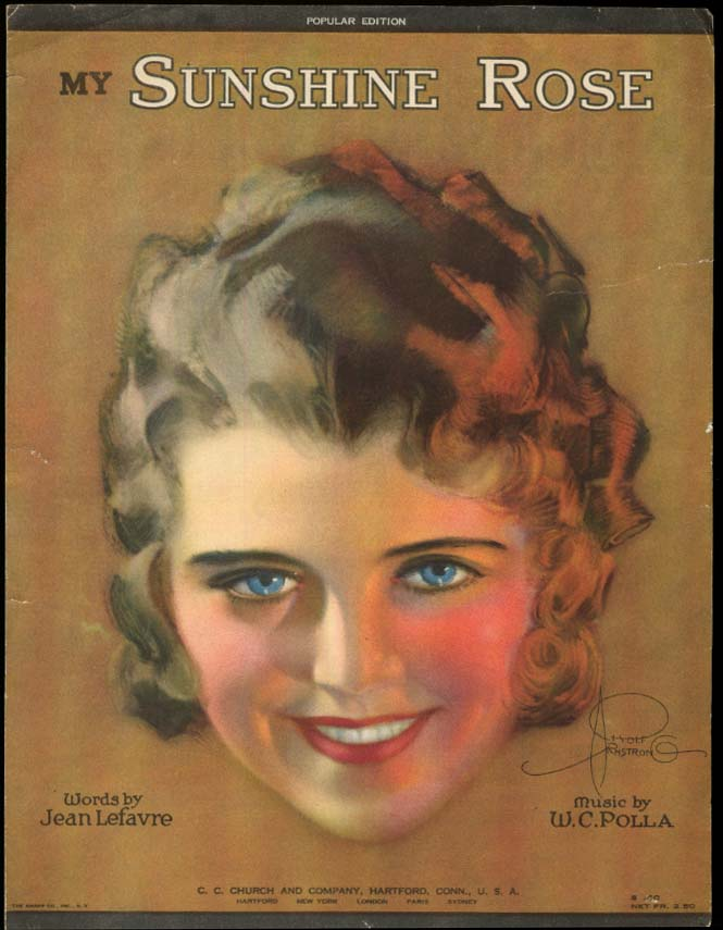 Image for My Sunshine Rose sheet music 1920 Rolf Armstrong pretty girl