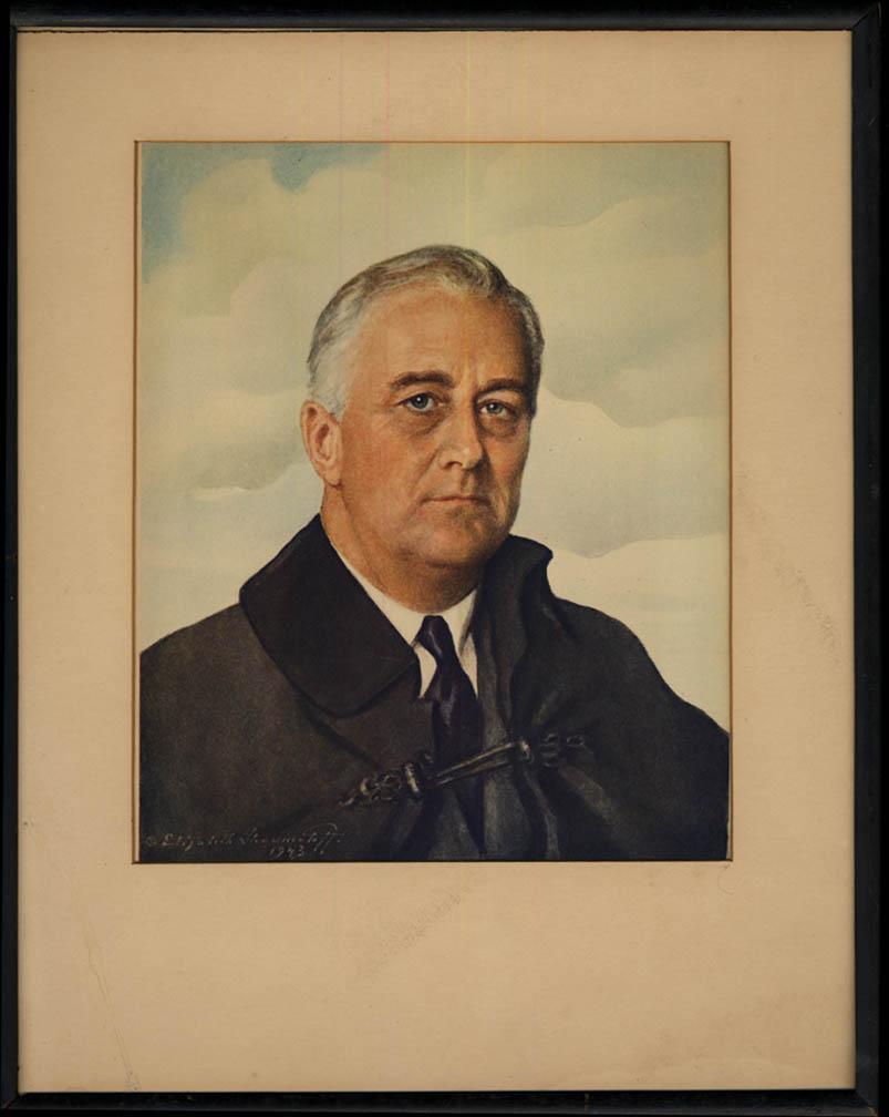 Franklin D Roosevelt print by Elizabeth Shoumatoff 1943 matted & framed