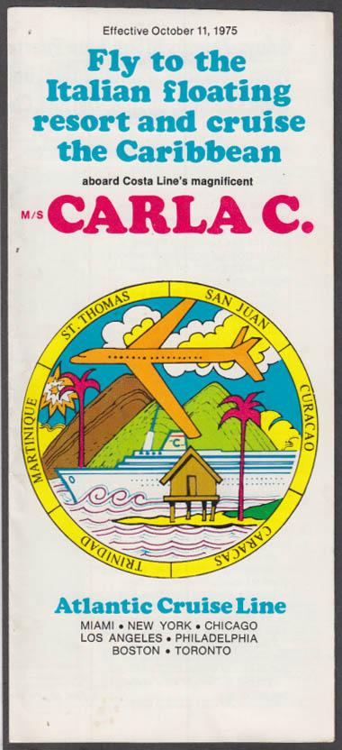Atlantic Cruise Line M/S Carla C Caribbean Cruise folder 10/11 1975