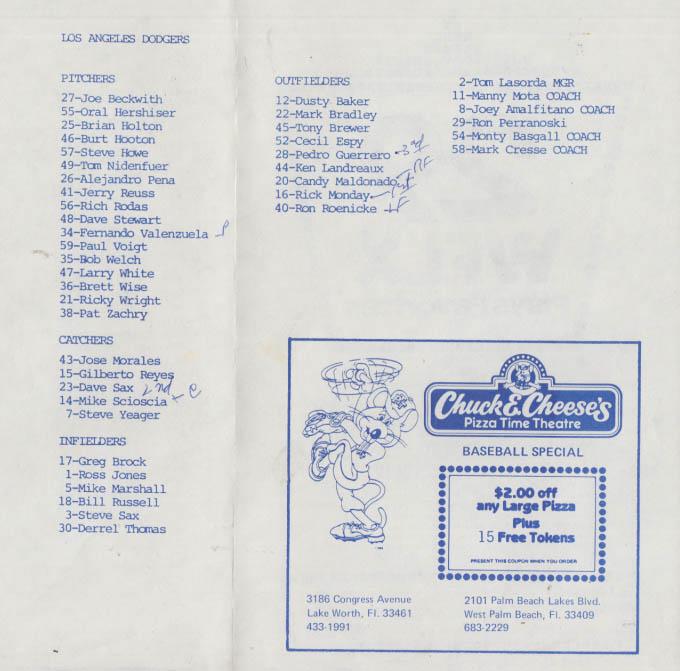 Montreal Expos v Los Angeles Dodgers Spring Training Program 1983