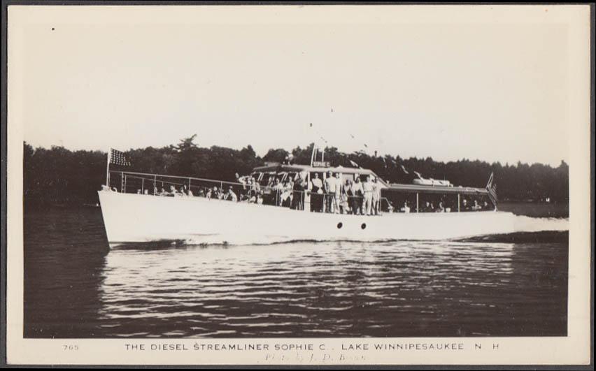 Diesel Streamliner Sophie C Lake Winnepesaukee NH RPPC postcard ca 1930s