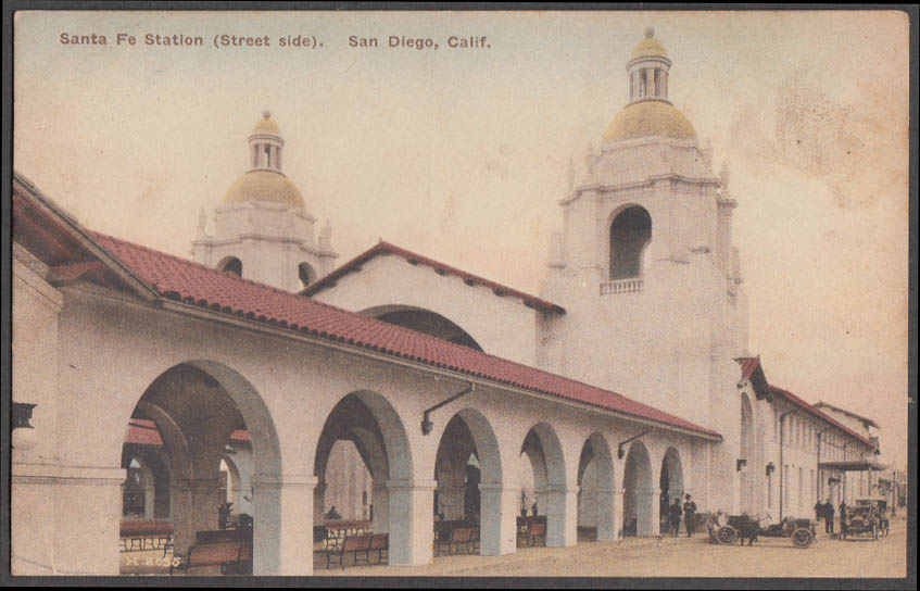 Street side of Santa Fe Railroad Station San Diego CA postcard ca 1910