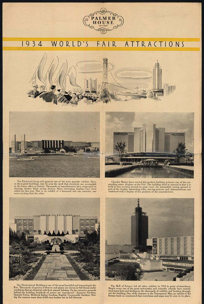 1934 World's Fair Attractions Century of Progress Palmer House Map