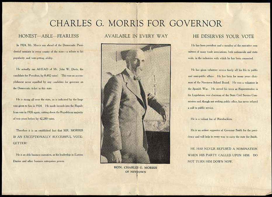 Charles G Morris for Connecticut Governor poster 1928