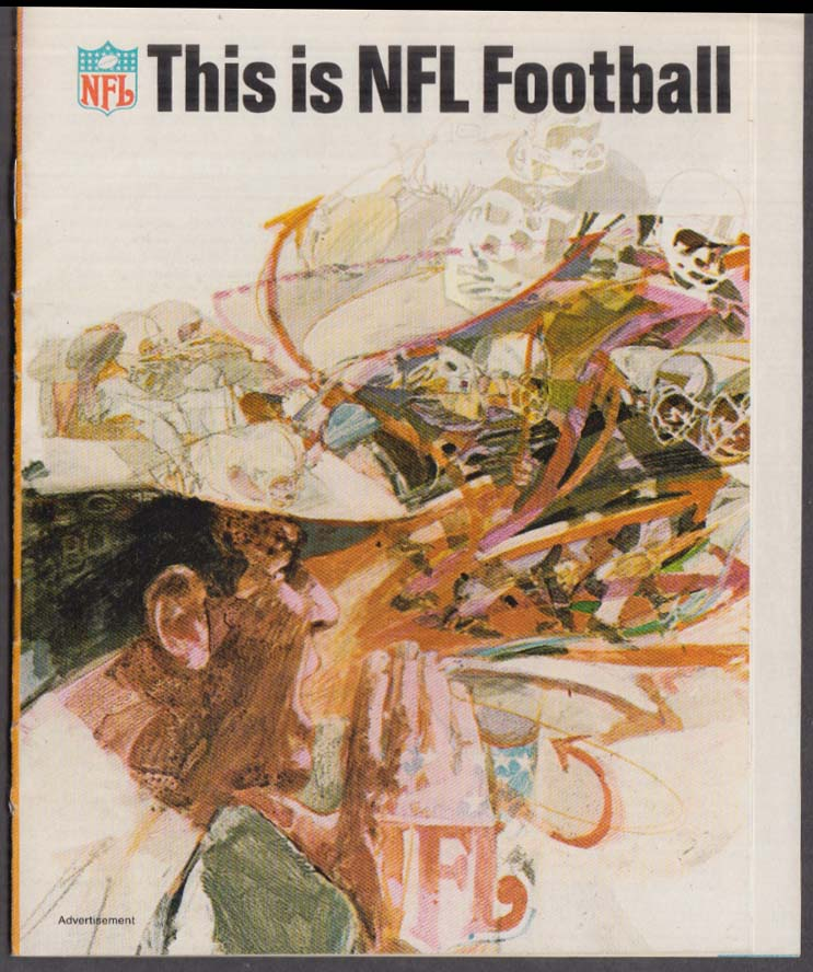 This is NFL Football advertising insert w/ 1968 schedule Ford Mustang
