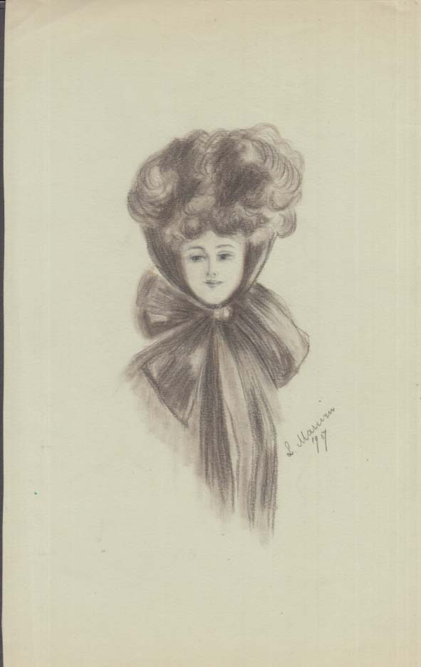 Image for Louise Marvin charcoal drawing of woman with big hair & bow ca 1907