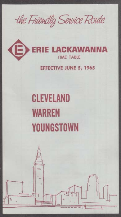 Image for Erie Lackawanna Railroad Cleveland-Warren-Youngstown Time Table Sheet 6/5 1965