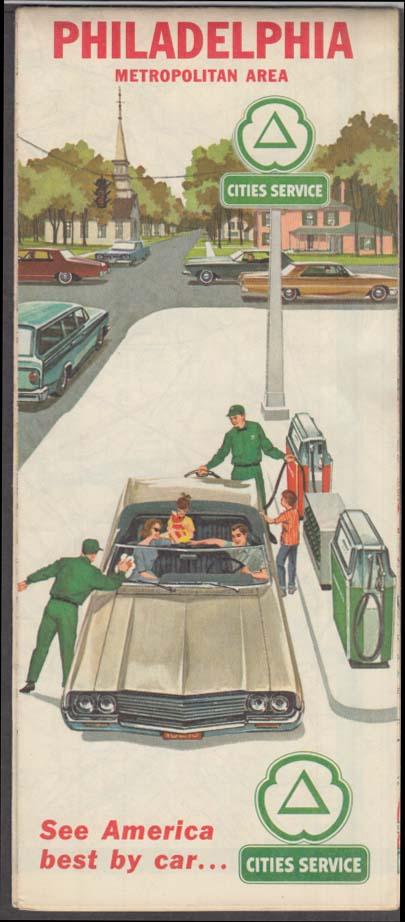 Cities Service Gasoline Philadelphia & Metropolitan Area Road Map 1964