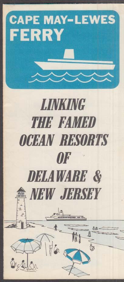 Cape May NJ- Lewes DE Ferry Map & information folder ca 1960s