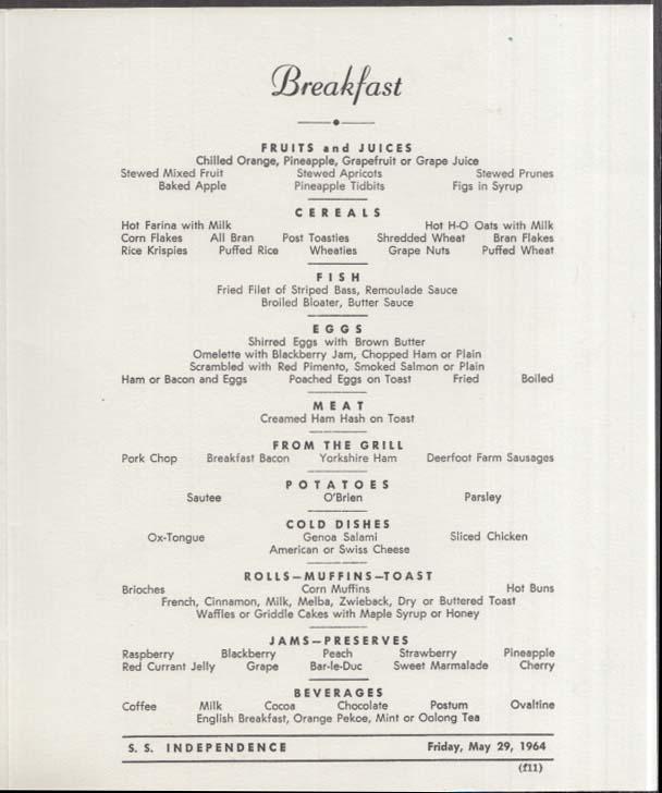 American Export & Isbrandtsen Lines S S Independence Breakfast Menu 5/29 1964