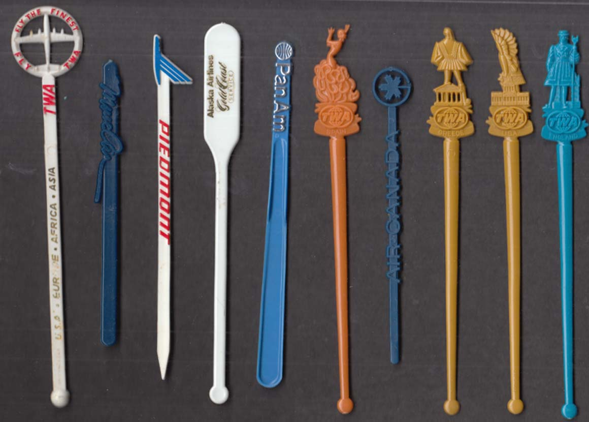 10 different airline swizzle sticks #2 TWA Alaska American Piedmont MuseAir +