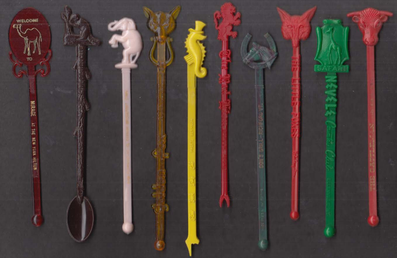 10 different animal-motif swizzle sticks camel bull fox squirrel elephant +