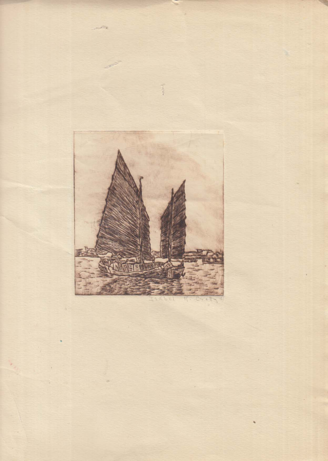 Chinese junk SIGNED engraving by Isabel R Crotty 1941